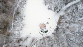 Obenliegendes Luftbrummenflug establisher über schneebedecktem Waldholz Winterschnee in der Gebirgsnatur draußen gerade-unten stock footage