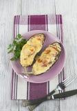 Oberżyna piec z warzywami i serem Fotografia Royalty Free
