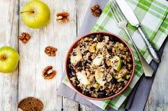 Oberżyny quinoa jabłek cranberry wysuszona sałatka Fotografia Stock