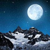 Ober Gabelhorn. In night sky with moon - Swiss Alps stock image