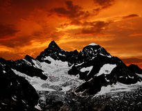 Ober Gabelhorn - Swiss. Sunset on the Ober Gabelhorn royalty free stock photography
