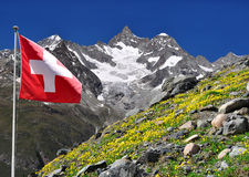 Ober Gabelhorn - Swiss Alps. Beautiful mountain Ober Gabelhorn with Swiss flag - Swiss Alps stock images