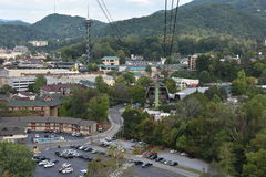 Ober Gatlinburg i i stadens centrum Gatlinburg i Tennessee Arkivfoton