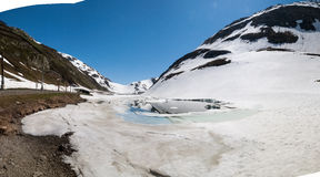 Oberalp pass, Artificial lake ice Stock Photography