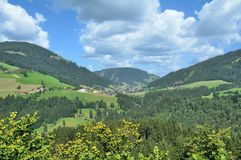 Oberau, Wildschoenau-Vallei, Tirol, Oostenrijk stock foto's