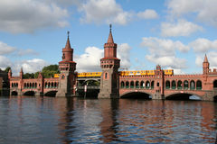Oberbaum Bridge in Berlin. The Oberbaum Bridge in Berlin is some 100 years old. It is used by metro trains royalty free stock photography