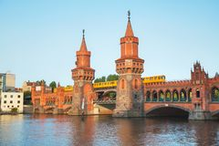 Oberbaum bridge in Berlin. Germany in the morning stock photography