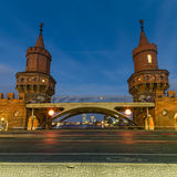 Oberbaum bridge, Berlin, Germany at night. U-Bahn train crossing on Oberbaum bridge, Berlin, Germany at night Stock Photos