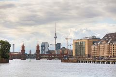 Oberbaum bridge in Berlin. Germany on a cloudy day royalty free stock photography
