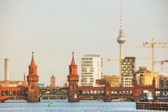 Oberbaum bridge in Berlin. Germany in the morning stock photo