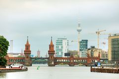 Oberbaum bridge in Berlin. Germany in the morning stock images