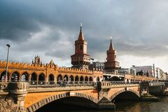 Berlin, October 03, 2017: The Oberbaum Bridge is a Berlin-River Spree, considered one of the city`s landmarks. Royalty Free Stock Photo