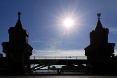 The Oberbaum Bridge between Kreuzberg an Friedrichshain in Berlin, Germany royalty free stock image