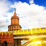Oberbaum bridge and train in Berlin Stock Photos