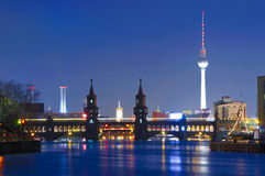 Oberbaum bridge, tv tower, berlin. Oberbaum bridge and tv tower in berlin, germany, at night Royalty Free Stock Images