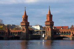 Oberbaumbrücke Berlin - Red Bridge royalty free stock photo