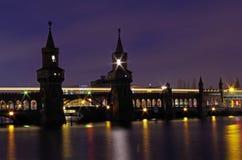 Oberbaumbridge in berlin at night Stock Image