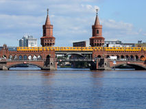 Oberbaumbrucke Berlin. Train crossing Oberbaumbrucke bridge over river Spee, Berlin, Germany Stock Photos