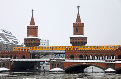 Oberbaumbrucke bridge across Spree river, Berlin Stock Photography