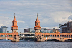 Oberbaumbrucke bridge across the Spree river in Berlin Stock Photography