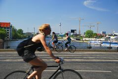 Oberbaumbruecke, Berlin, Germany. Biking in the city