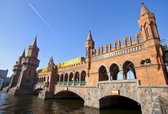 Oberbaumbruecke bridge with passing subway train Royalty Free Stock Image