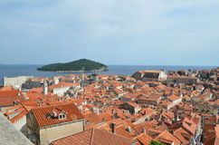 Obere Ansicht alter Stadt Dubrovniks Lizenzfreie Stockbilder