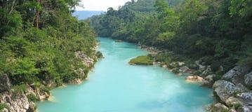 Obere Ansicht des Agua-Clara-Flusses, Mexiko, Panorama Lizenzfreie Stockfotos