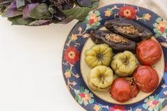 Obere Ansicht schoss von angefülltem Pfeffer, von den Tomaten und von den Auberginen des Fleisches lizenzfreies stockbild
