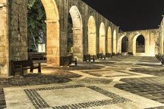 Obere Barakka-Gärten nachts Stockbild