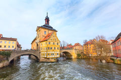 Obere bridge and Altes Rathaus in Bamberg, Germany Stock Image