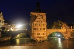 Obere bridge (brücke) and Altes Rathaus at night in Bamberg, Ge Royalty Free Stock Photos