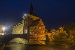Obere bridge (brücke) and Altes Rathaus at night in Bamberg Royalty Free Stock Photo