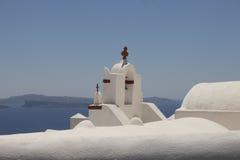 Obere Front einer griechischen Kirche Stockbilder