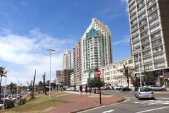 Obere Marine Parade Lined mit Hotels in Durban, Südafrika Stockbilder