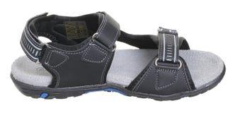 Obere Seitenansicht der schwarzen, blauen und grauen Jungensandale Lizenzfreies Stockfoto
