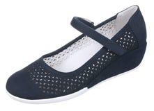 Obere Seitenansicht des dunkelblauen und weißen perforierten Frauenveloursleders SH Lizenzfreie Stockfotos