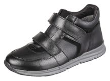 Obere Seitenansicht des schwarzen und grauen ledernen männlichen Stiefels Stockbilder