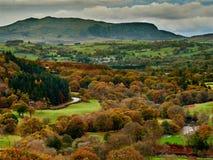 Oberer Fluss Dee Valley und Arenig Fawr im Herbst/im Fall stockbild