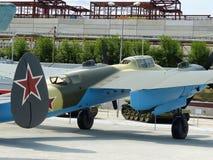 Oberes Pyshma, Russland - 2. Juli 2016: Die sowjetische Probe des Sturzbombers Pe-2 von 1941 - eine Ausstellung des Museums der m Stockfotos