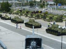 Oberes Pyshma, Russland - 2. Juli 2016: Verschiedene militärische Ausrüstung im Freien im Museum der militärischer Ausrüstung Ans Lizenzfreie Stockfotos