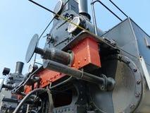 Oberes Pyshma, Russland - 2. Juli 2016: Zug mit Dampflokomotiv-Reihe Ov - Ausstellungen des Museums der militärischer Ausrüstung Lizenzfreies Stockbild