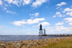 Obereversand lighthouse at the wadden sea Stock Photography
