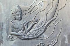 Oberfläche der Art-Bronzewand des Tempels in Korea. lizenzfreie stockbilder