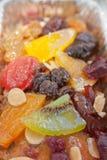 Oberfläche des yummy Fruchtkuchens stockbilder