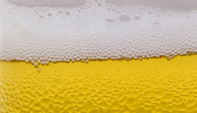 Oberfläche eines Glases Bieres mit Schaum und Tropfen Stockfotos