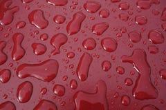 Oberflächenspannung - waterdrops auf einer roten Beschichtung lizenzfreies stockbild