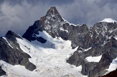 Obergabelhorn. The east face, north and south ridges of the Obergabelhorn near Zermatt in the Swiss Alps Stock Image
