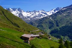 \Oberglaneggalm\ with the Stubai Alps Royalty Free Stock Image