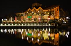 Oberhausen, Germany - December 5, 2014 Brauhaus. Oberhausen Germany - December 5, 2014 Brauhaus at nigth with Christmas Decoration stock photos